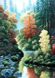Oil painting of the San Lorenzo River near the artist's studio.