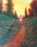 Oil painting of women monastics walking into sunset.
