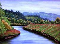 Oil painting of the Coweeman River.