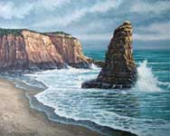 Oil painting of Davenport rocks and surf.