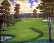 Oil painting of imaginary gold course.