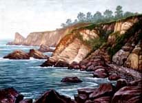 Oil painting of Ft. Ross misty coast.