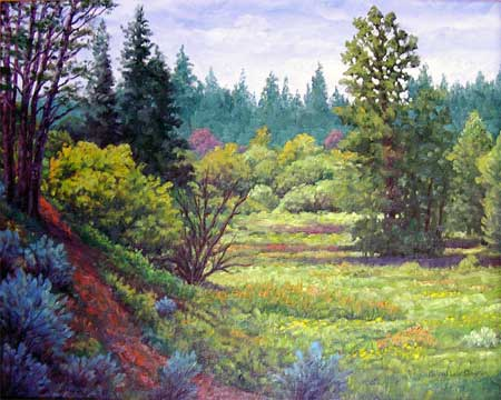 Oil painting of Goldendale Meadow.