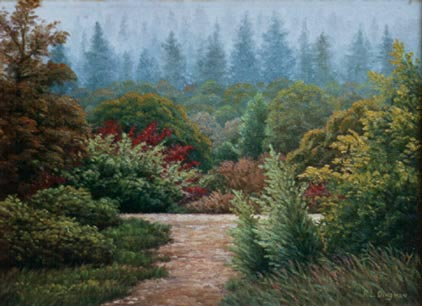 Oil painting of a country lane