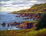 Oil painting of Big Sur, South.