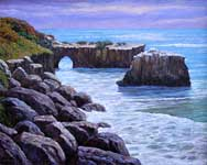 Oil painting of ocean with natural bridge.