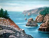 Oil painting of Big Sur.