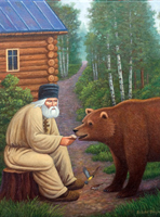 painting of  	          St. Seraphim feeding bear.