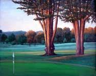 Oil painting of Monterey golf course.
