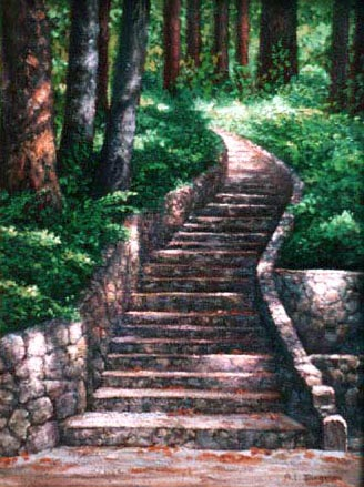 oil painting of rock stairs