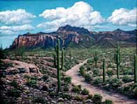 Oil painting of Superstition Mountain & desert.
