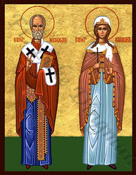 Icon of Saint Nicholas the wonderworker and Saint Barbara